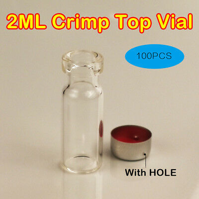 100pcs 2ml Empty Small Sample Vials Clear Glass Bottles With Caps(Hole) For Lab