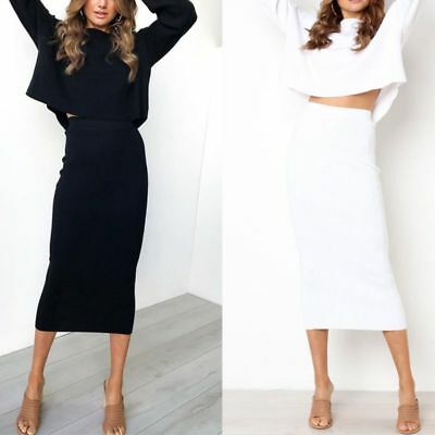 Women Plus Size Pencil Stretch Tube Wiggle Ladies Fit Bodycon Plain Midi Skirt