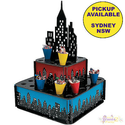 Super Hero Party Supplies Candy Cupcake Popcorn Snack Stand Superhero Birthday