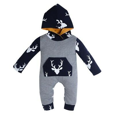 AU Newborn Kid Baby Boy Girl Cotton Deer Romper Jumpsuit Bodysuit Clothes Outfit