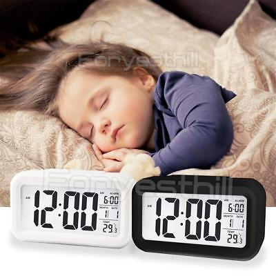 Smart Alarm Clock Table Digital Snooze Backlight LED Time Temperature Calendar