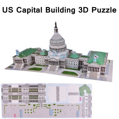 3D Puzzle Jigsaw Model DIY US Capital Building IQ Toy Kids Puzzle Game Xmas Gift