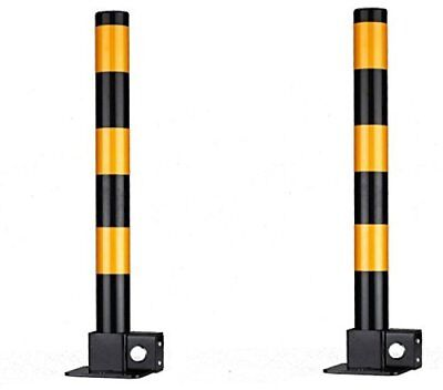 Security Drive Way Vehicle Post 2 Pieces Folding Portable Parking Steel Posts