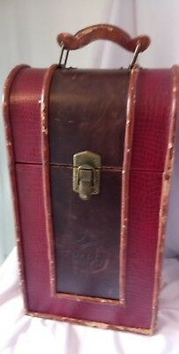 LUGGAGE, (1980,s) DOMED WOOD WINE TWO BOTTLE CARRYING CASE