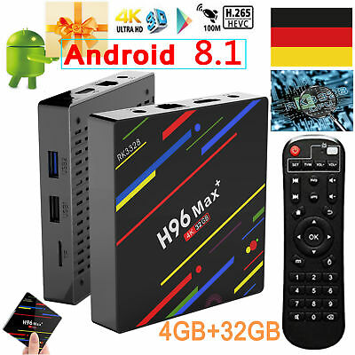 Android 8.1 H96 Max+ 4+32GB Smart TV Box MINI PC Quad-Core 4K WiFi H.265 USB 3.0