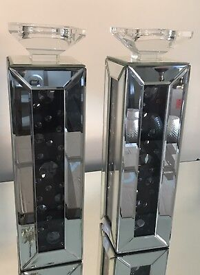 Mirrored Glass Square Pillar Candle Holder X2
