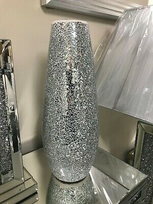 Silver Mirrored Mosaic Crackle Glass