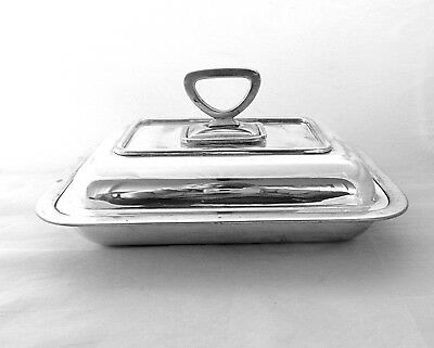 Antique Silver plate Tureen food warmer with lid covered entree dish from 1920s