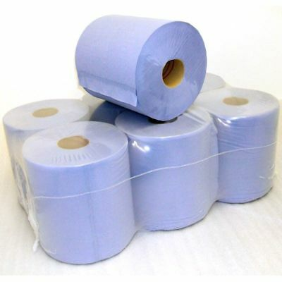 Centre Feed rolls Blue heavy Duty 2ply 150mtr rolls pack of 6-Free Shipping