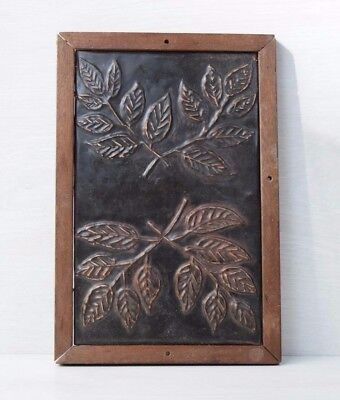Vintage 80s USSR Soviet Chasing Embossed Picture Bronze Wall Plaque Flowers Wood