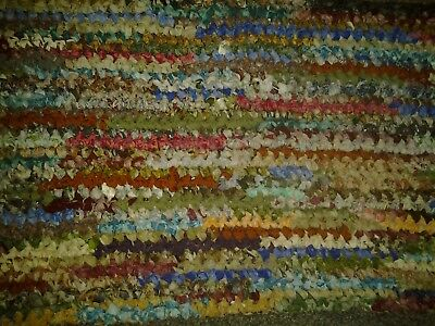 """Vtg HAND MADE CROCHETED BRAIDED rectangle RAG RUG approx. 17 X 36"""" nature"""