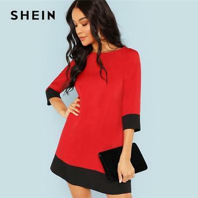 6299440f2b02 SHEIN Red Contrast Trim Tunic Dress Workwear Colorblock 3/4 Sleeve Short  Dresses