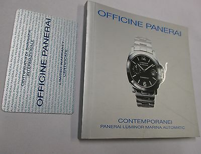Officine Panerai Marina Automatic Watch Warranty Certificate Card & Instructions