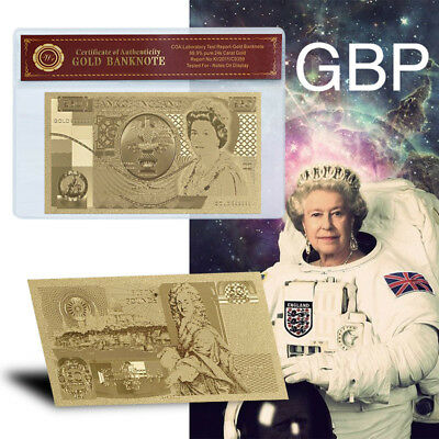 WR Elizabeth II £50 Gold Plated Commemorative Banknote of England Christmas Gift