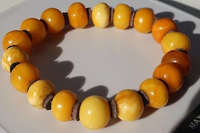 Old natural amber bracelet 14 grams yellow, white color, Baltic amber jewelry