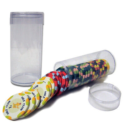 Clear Plastic Poker Casino Chip Tube (Holds 25 Chips, Not Included)