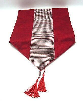 """A Red Sequined Design Christmas Table Runner 72"""" x 13""""  (183cms x 33cms)"""