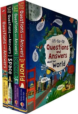 Usborne Lift the Flap Questions and Answer 4 Books Set World, Science,Space