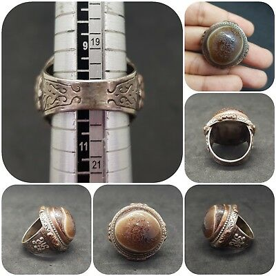 Roman Ancient Sold Silver Unique Ring With Banded Eye Agate #12Q