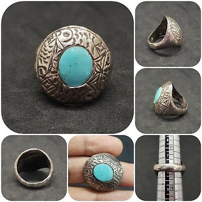 Beautiful Silver Ring Roman With Turquoise  Stone #11Q