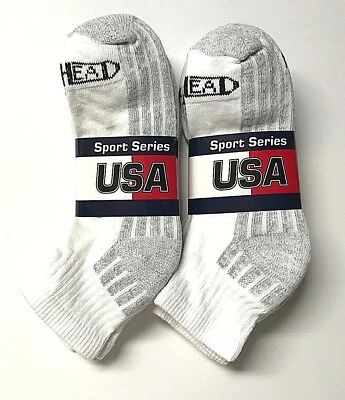 Men's Red Head  Soft & Cushion Bottom White Sport/ Work Ankle Sock Size 9-11,New