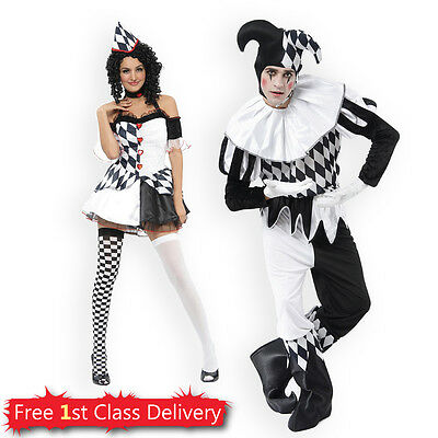 Harlequin Tights Jester Costume Halloween Clown Medieval Adult Fancy Dress Party