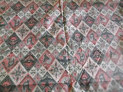 antique cotton print sewing/quilt fabric, 4 yds. 36 w