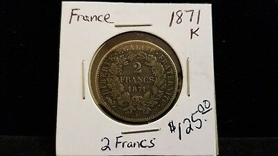 1871 K France 2 Francs Silver Coin .2893 ASW