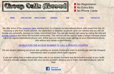 International phone call website business for sale CheapCallsAbroad.co.uk domain