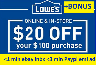 FIVE 5X Lowes $20 OFF $100Coupons-InStore Online -Fast + BONUS STACK INFO ($5)