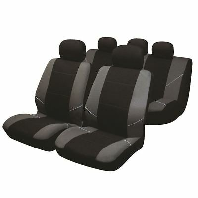 Black/Grey Full Set Front & Rear Car Seat Covers for Saab 9-3 93 All Models