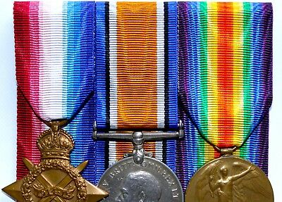 Full-Size WW1 Ribbons for 1914-15 Star/British War/Victory Medal Trio; 15cm/30cm