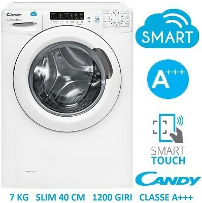 Lavatrice 7 Kg 1200 Giri A+++ Slim 40 Cm Smart Touch Candy Cs41272D31-S Farago'