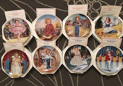 Set of 8 Vintage Shirley Temple Danbury Mint Collector Plates B1033 1930's Films