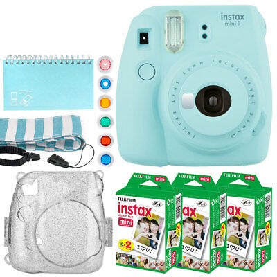 Fujifilm Instax Mini 9 Instant Camera (Ice Blue) + Instax 60 + Value Bundle!