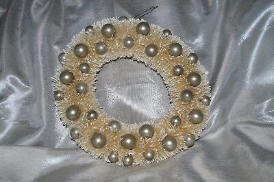 """15"""" Ivory Bottle Brush Christmas  Wreath with """"Snow"""" & Aged Silver Balls"""