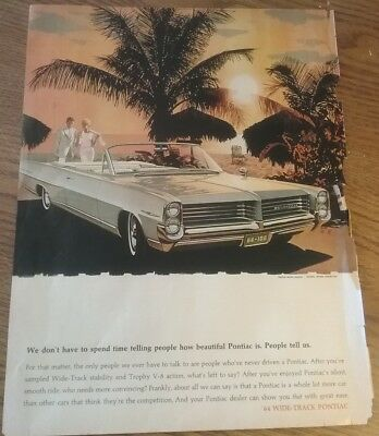 1964 Wide-Track Pontiac Bonneville 1963 Print Advertisement Vintage Magazine Ad
