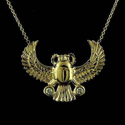 14K Gold Bezel Set Diamond Egyptian Scarab Scarabeaus Amulet Necklace Pendant
