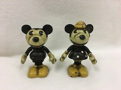 Vintage Cast Iron Minnie and Mickey Mouse Disney Figurines with Moveable Arms