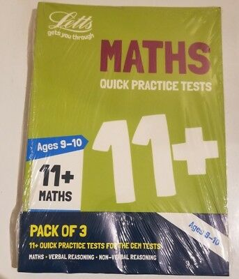 Letts 11Plus 10-11 Years Quick Practice Tests 3 Books Maths Verbal Non Reasoning