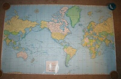 Laminated RAND McNally Cosmopolitan World Map On Mercator Projection 48x30""