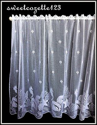 "HERITAGE LACE White SEASCAPE Tier 60"" x 36"" Made USA LACE TIER New Product"