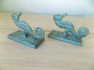 2 Door Knockers Seahorse Nautical Sea Horse Ocean Beach Cabin Cast Iron Decor