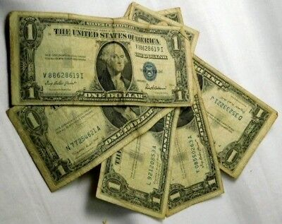 10x 1935 1957 Washington Dollars $1 Silver Certificate Currency Old Estate Money