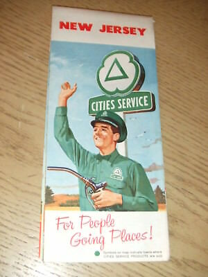 VINTAGE 1961 Cities Service Oil Gas New Jersey State Highway Road Map Citgo NJ