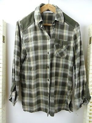VINTAGE ladies brushed cotton checked country style BAVARIAN green shirt S/M