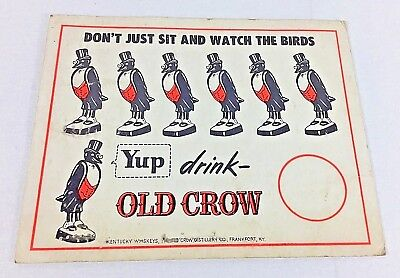 Antique Old Crow Kentucky Whiskey Sign Advertising Bar, Liquor Store
