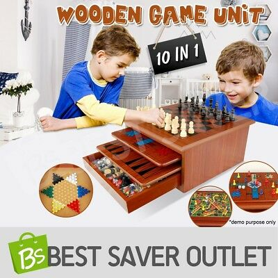 10in1 Chess Games Board Toy Wooden House Set Backgammon Checkers Snakes Ladders