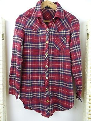 VINTAGE ladies brushed cotton blend checked country style  shirt size S/XS