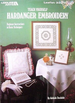 Leisure Arts Craft Book - TEACH YOURSELF HARDANGER EMBROIDERY - Lessons Projects